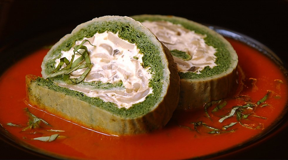 Spinach Roulade with Tomato Basil Sauce