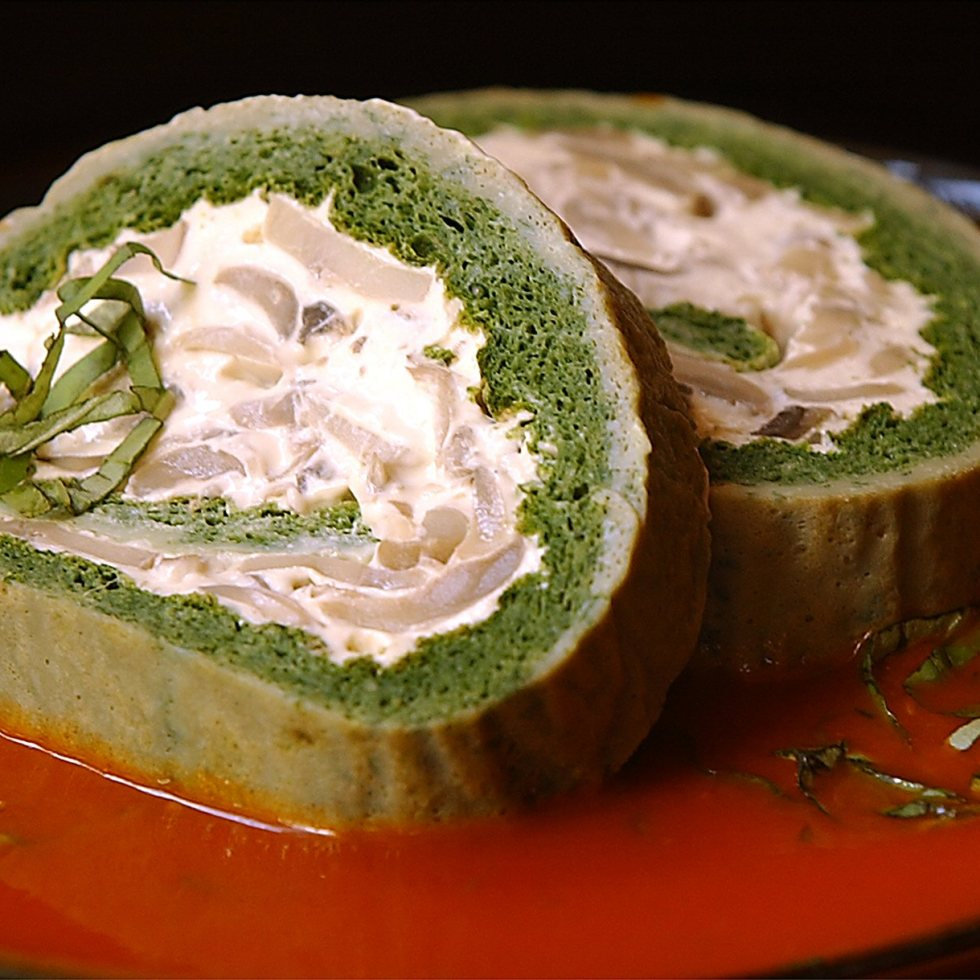 Spinach Roulade with Tomato Basil Sauce ©Kevin Ashton 2003