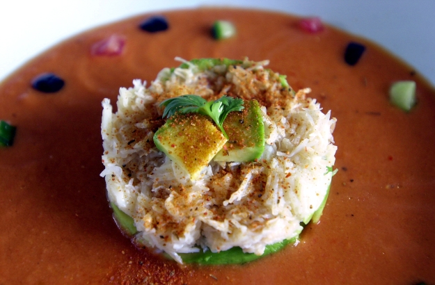 Tian of Avocado and Crab with Gazpacho ©Kevin Ashton