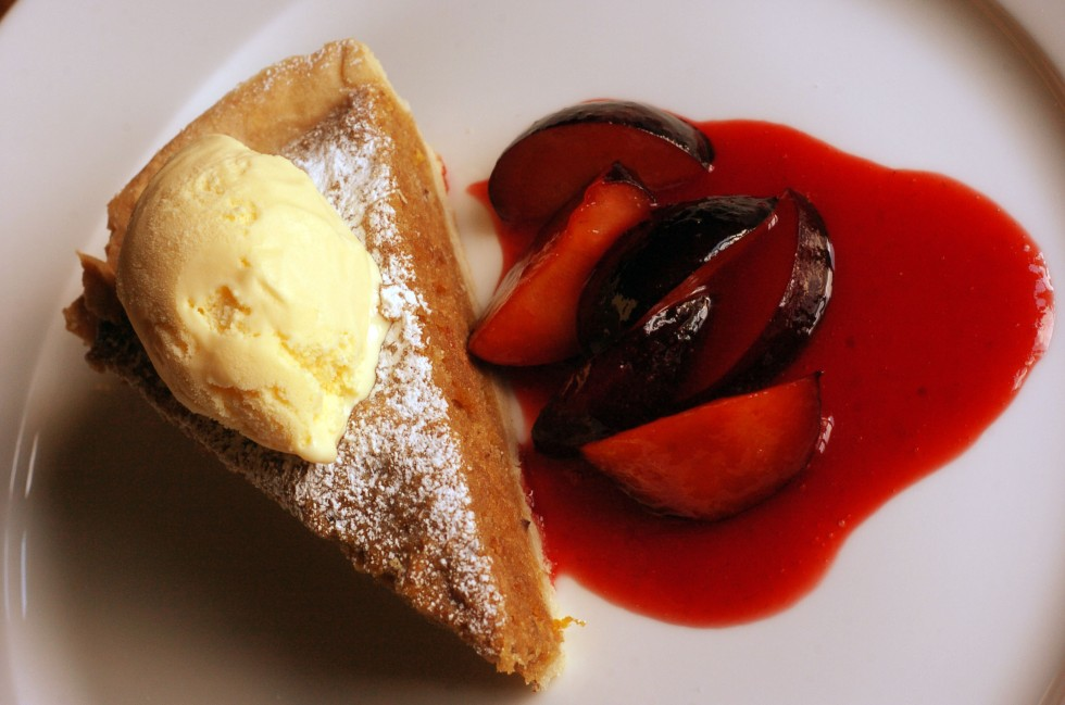 Treacle Tart with Plum Sauce