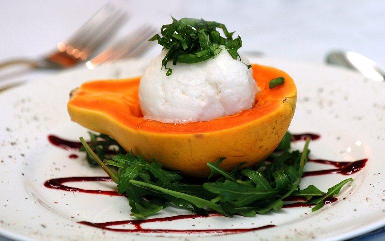 Papaya with Basil Lemon Sorbet