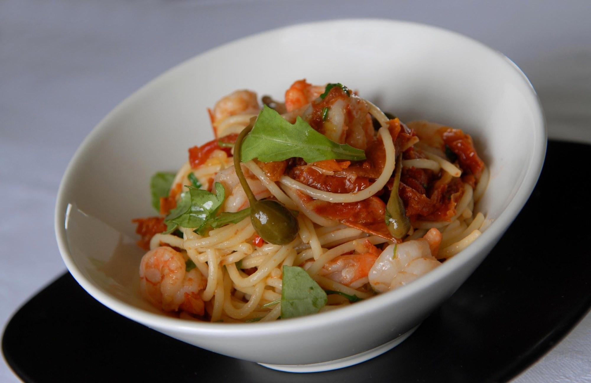 SB220507Ashton-05PICTURE BY SAM BAGNALL.Prawn, Tomato and Capers with Spaghetti.Kevin Ashton recipe for Sunday Mercury....SB220507Ashton-05