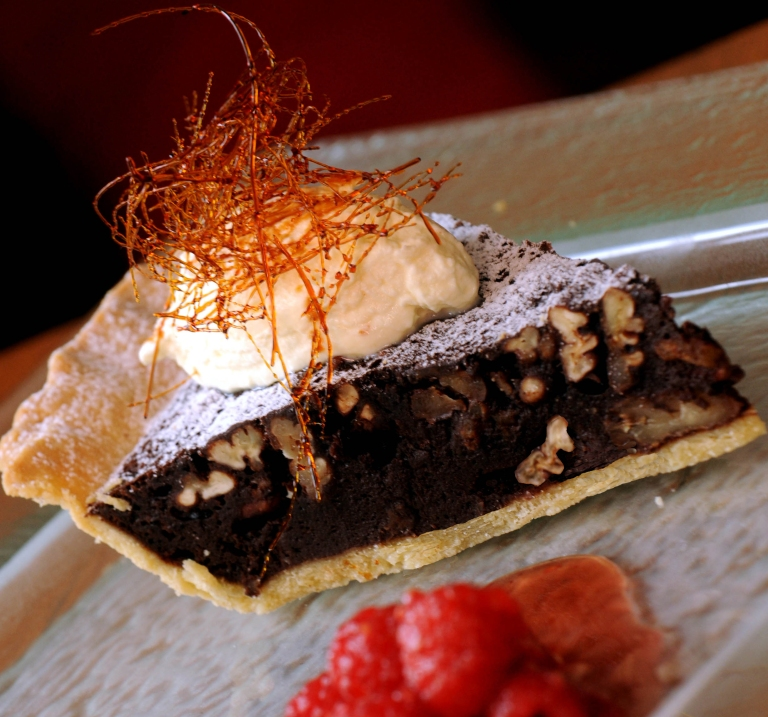 Chocolate Pecan Pie with Bourbon and Raspberries