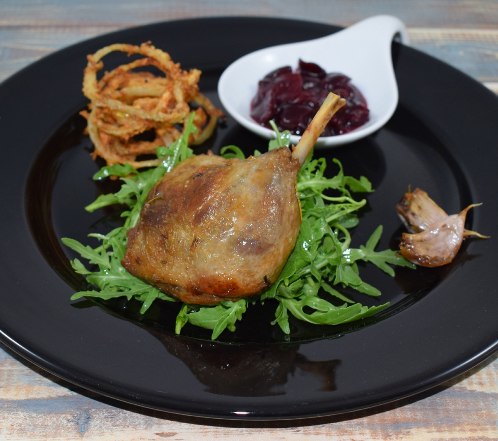 Duck Confit with Griottine Chutney & Deep Fried Spicy Onions
