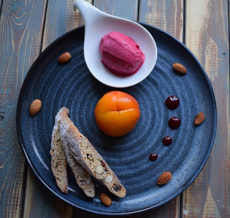 Damson Ice cream with Poached Peach.jpg